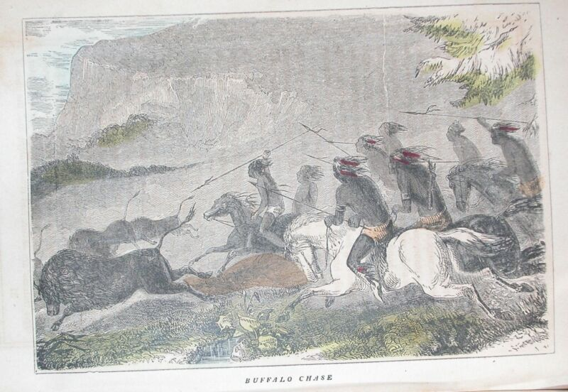 1857 NATIVE AMERICAN INDIAN ENGRAVING OF WESTERN BUFFALO HUNT HISTORY