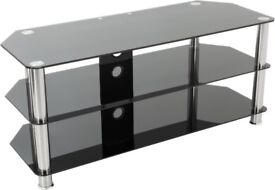 Black unbreakable glass TV stand