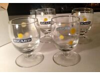 French Ricard pastis 4 apéritif glasses