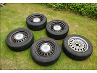 VW Caddy Wheels 4x100 Steel Banded Rears +Caps and Spare