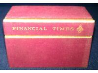 Vintage 1971 'De La Rue: Financial Times' Playing Cards in Felt Box (sealed)