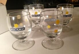 French Ricard Pastis 4 aperitif glasses