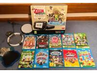 NINTENDO WII U ZELDA PREMIUM CONSOLE BUNDLE (32GB) + 10 GAMES + SKYLANDER PORTALS (LIKE NEW!)