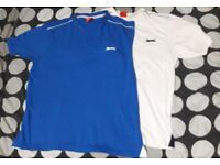 2 Men's large Slazenger T-shirts blue and white