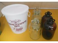 Glass wine making demi johns and fermentation bucket
