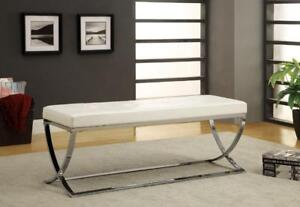 White Bench with Chrome Legs - IF-691 in Toronto Furniture Sale (BD-1472)