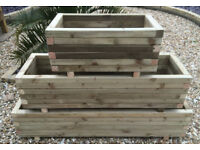 Hand made solid wood planter rectangular