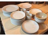 32 piece mixed style white crockery set PLUS 3 FREE MUGS
