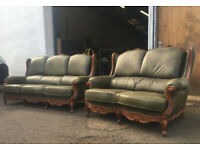 Chesterfield style hard wood antique green leather sofas
