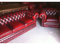 Oxblood red leather 3 seater chesterfield sofa and club chair
