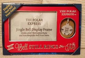 RARE WB THE POLAR EXPRESS JINGLE BELL DISPLAY FRAME CHRISTMAS NEW AND RARE