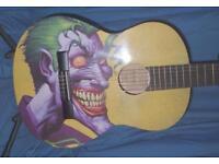 JOKER GUITAR - FROM BATMAN COMIC ART, SCARY GUITAR FULL SIZE CLASSICAL GUITAR