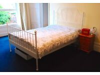 Standard Double White Metal Bed (Ikea Leirvik with Luroy slats). Excellent Condition.