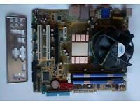 Motherboard Asus P5N-EM HDMI, 4 Gb Kingston hyper X, Intel core 2 quad Q6600 2.4GHz, back plate.