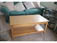 light oak coffee table oblong