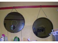 2 x Vintage Round Mirrors