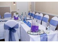 Wedding Venue Decoration Chair Cover Hire 45p FREE Sash... Mirror Plate Fish Bowl Vases CENTERPIECES