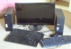 "ACER 23"" MONITOR (WORKING) +2X ACER ASPIRE PC'S (SPARES ONLY) +3 KEYBOARDS AND 1 MOUSE."