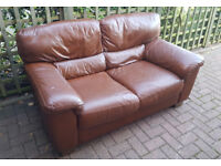 2 seater sofa. Brown real leather. Delivery is possible