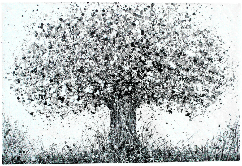 Very large new black and white abstract oak tree modern art painting on loose canvas