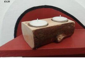 Tree Log Tea Candle Holder