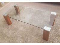 Solid Wood and Glass Contemporary Coffee Table and Matching Console Table – Lovely Condition