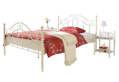 Metallbett cremeweiß 140 x 200 cm Bett romantisch antik Ehebett Doppelbett neu - Antik Weiß Metall Bett