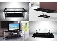 POPULAR MODERN GLASS TV STAND AND GLASS COFFEE TABLE... FREE DELIVERY