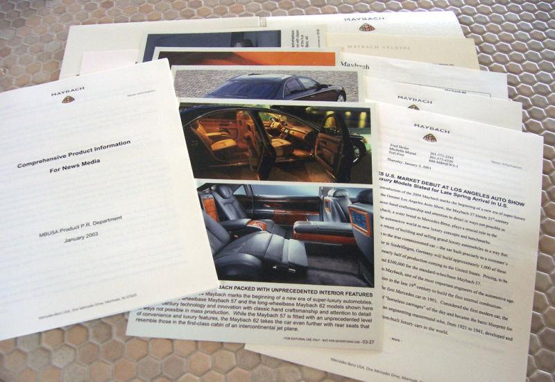 MAYBACH 57 & 62 AUTOSHOW PRIEMIER PRESS RELEASE BROCHURE 2004 USA EDITION