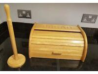 Wooden Bread Bin and Kitchen Towel holder