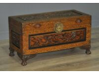 Small Vintage Oriental Carved Camphorwood Coffee Table Blanket Toy Chest Kist