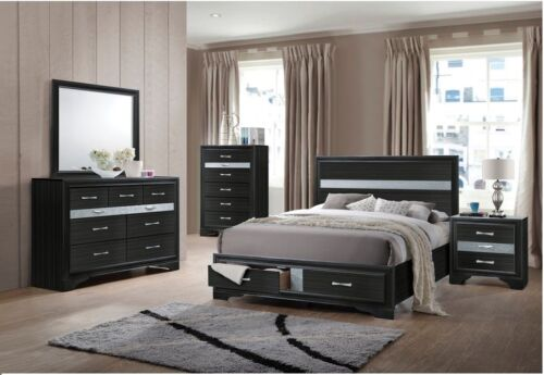 Elegance Style 1pc Bed Queen Size Contemporary Bedroom Furniture Black Finish