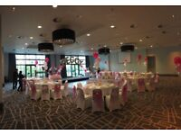 OCTOBER OFFER - 100 Chair Covers & Sashes / 10 Table Cloths & runners / 10 x 3 balloon clusters!!!