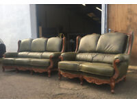 3+2 Parliament green chesterfield style sofas DELIVERY AVAILABLE