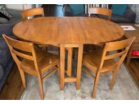 John Lewis Solid Wood folding Dining Table and 4 chairs