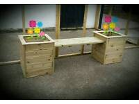 Decking Planter Double Seater Bench