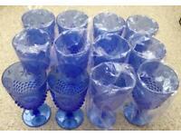 New 12 Blue Embossed Plastic Wine Glasses