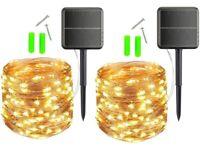 NEW Solar String Lights, 440Leds 74ft Solar Fairy Lights Waterproof (2 Pack)