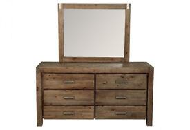 Dresser with Mirror Hardwood 6 velvet lined full extention drawers