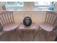 Farmhouse chairs and matching side table sulking room pink