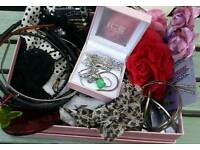 Box of assorted Girls/Ladies Accessories. Over 30 items. Jewellery/Hair.