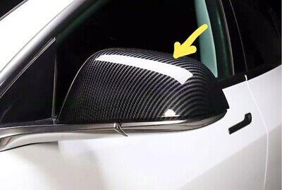 TESLA MODEL 3 CARBON LOOK DOOR WING MIRROR COVERS CAPS PAIR. UK