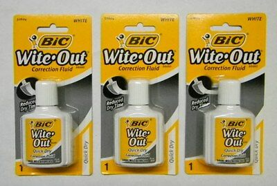Bic 50604 - Wite Out Correction Fluid - - White - 3 Pack Lot