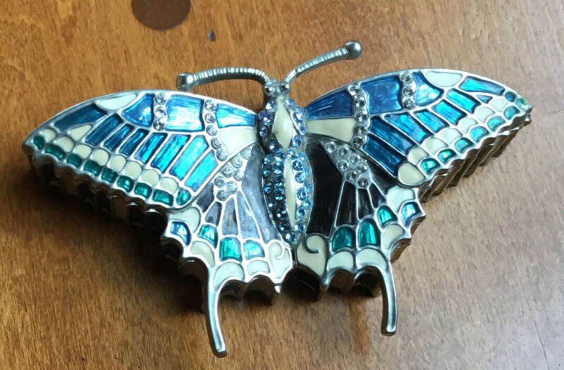 Butterfly Jewelry Trinket Box Hinged Enameled & Bejeweled LENOX