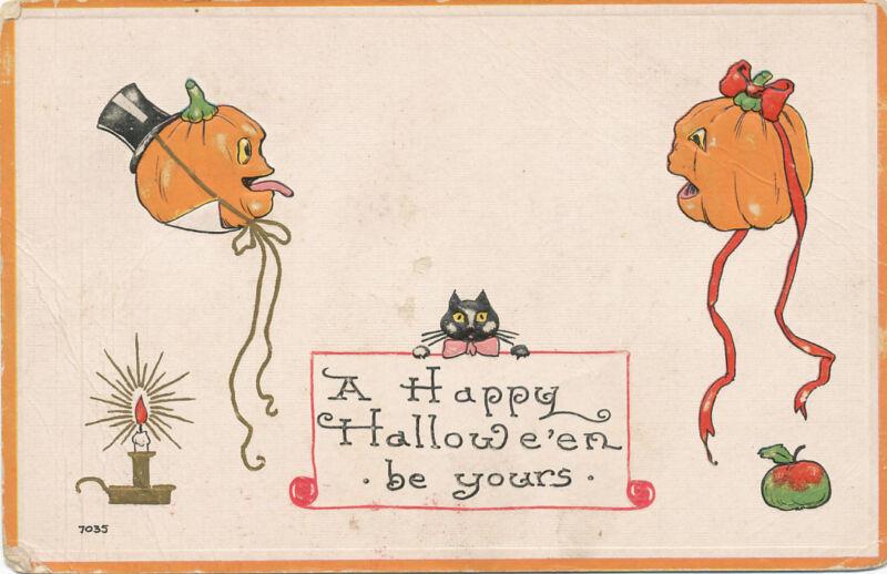 Halloween PC 1913 * Mr. & Mrs. JOL  Black Cat Candle * Embossed