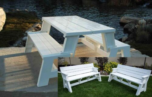 Bench Convertible Picnic Table Folding One Piece Modern Design White Brand New