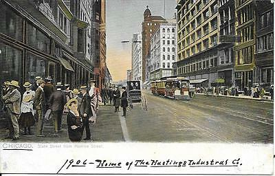 State Street From Monroe Chicago Nice Postcard Not Postally Used Undivided Back