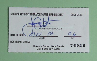 2006 Pennsylvania Resident Migratory Game Bird Hunting License Tag...Free Ship!