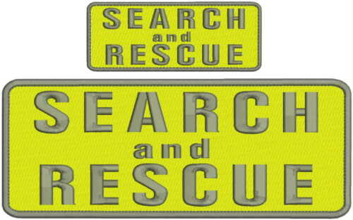 Search and Rescue embroidery patches 4x10 and 2x5 hook on back yellow and grey