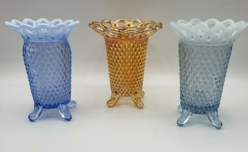 Lot of 3 Vintage Imperial Katy Opalescent & Carnival Glass Laced Edge Vases